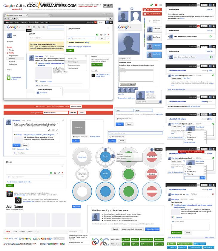 Google+ GUI PSD Kit
