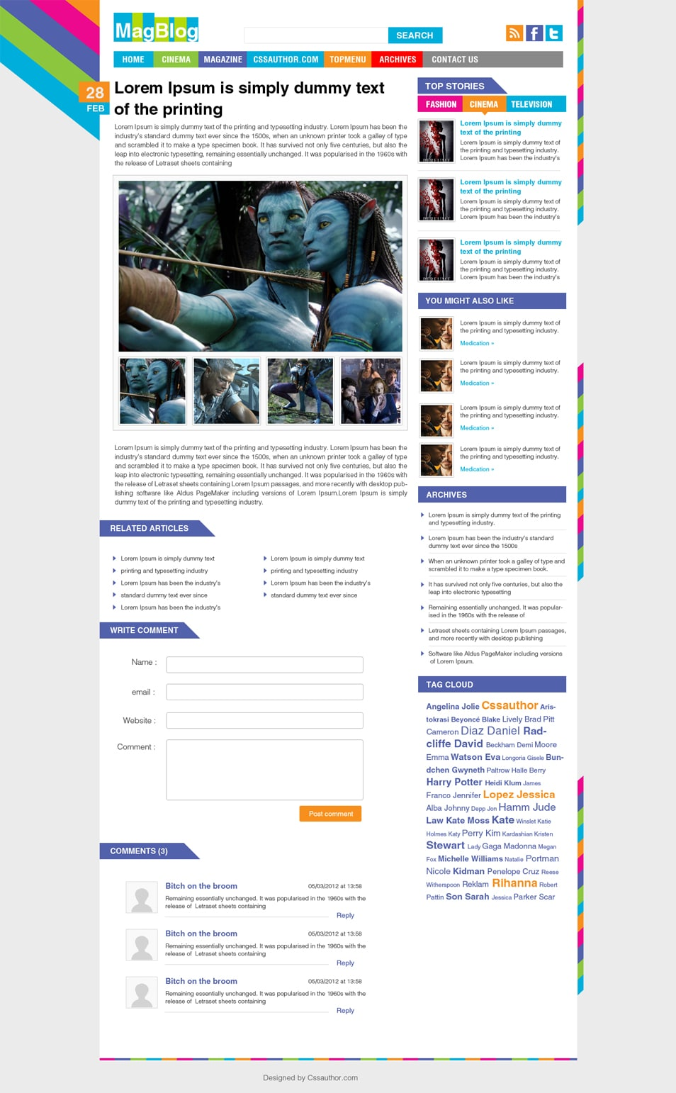 Magazine Blog Inner Page PSD