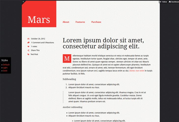 Mars Tumblr Theme