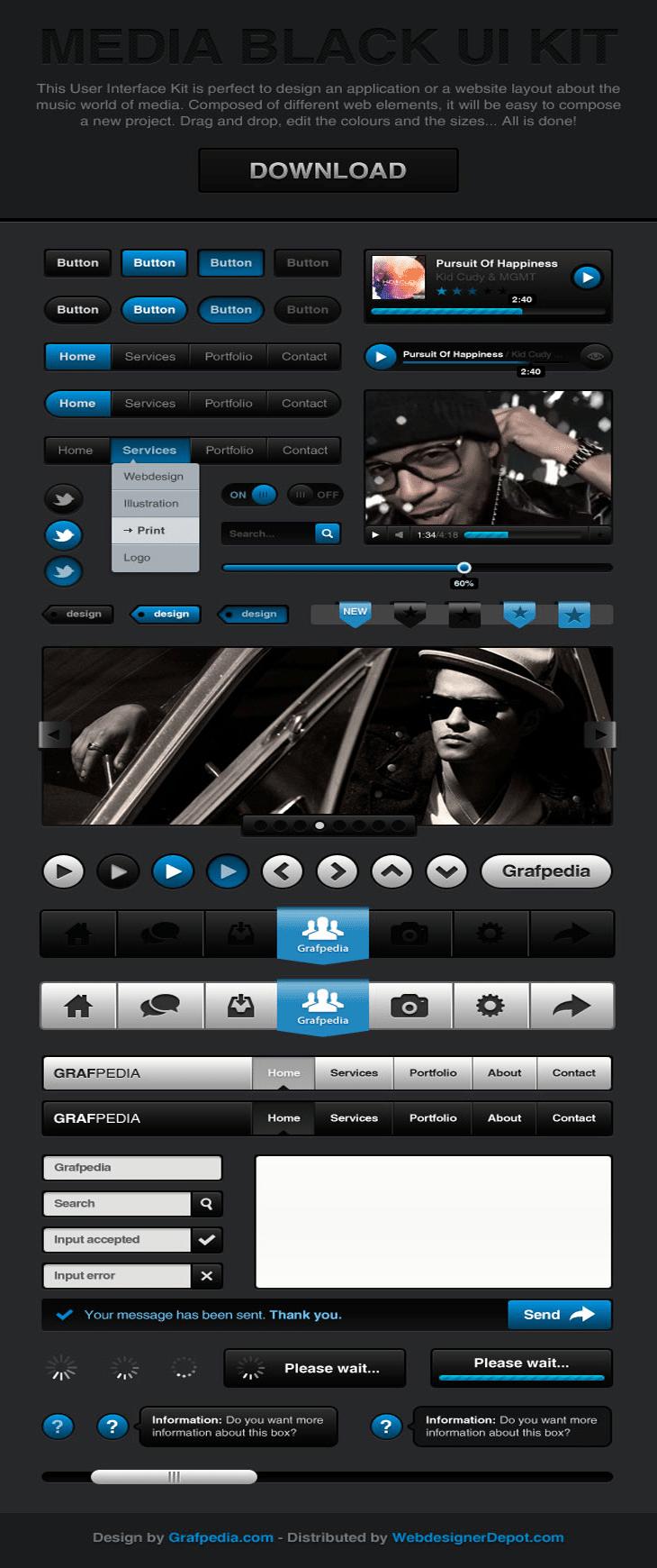 Media Black UI Kit