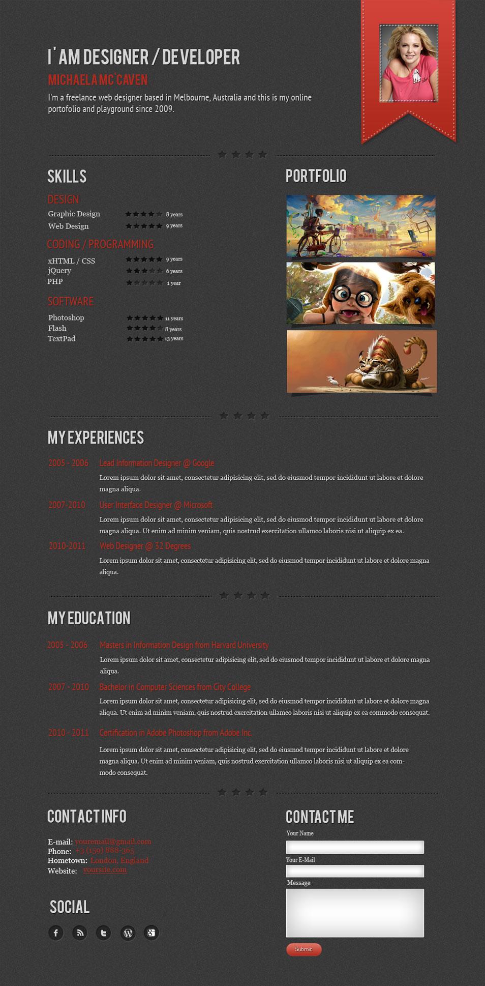 MunanosCV - one resume page