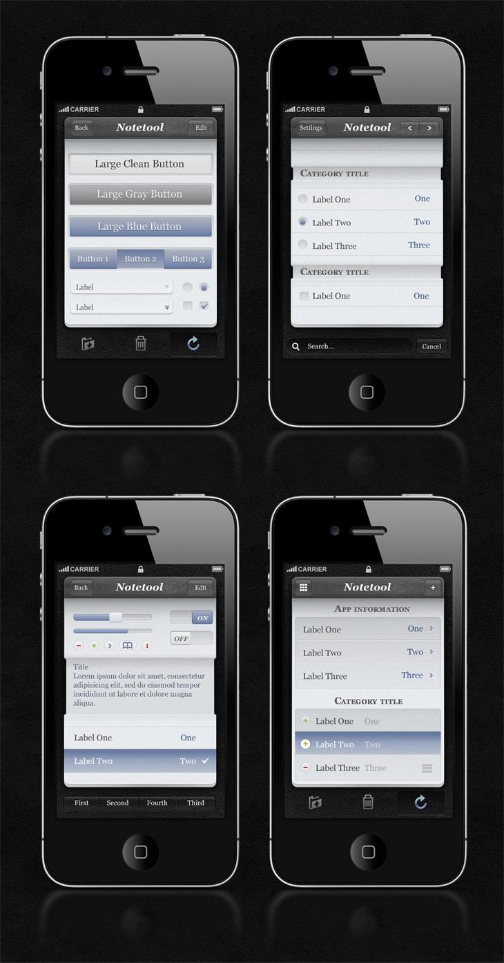 Notetool iPhone App UI Kit PSD
