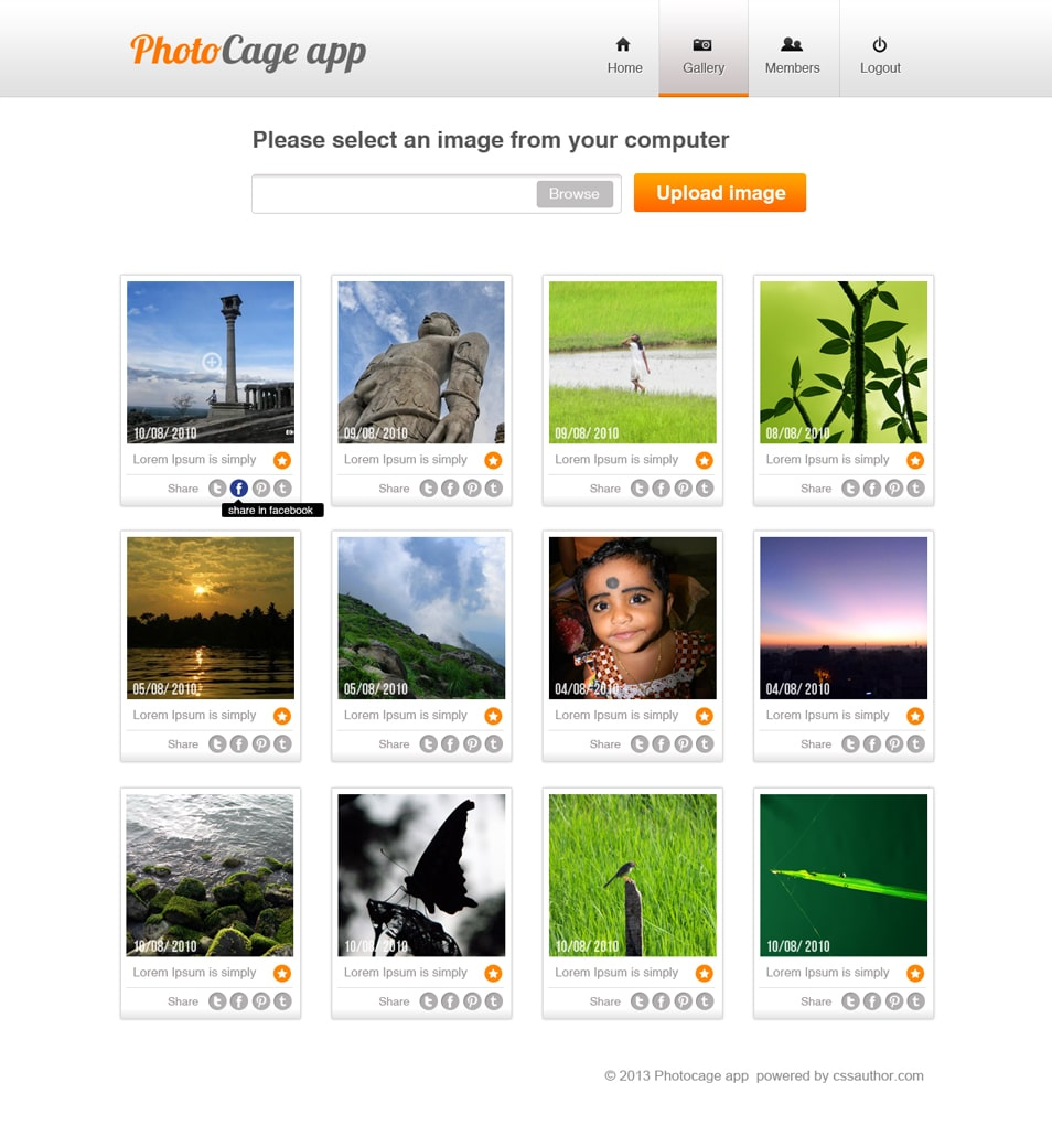 Photo Sharing Website PSD Template