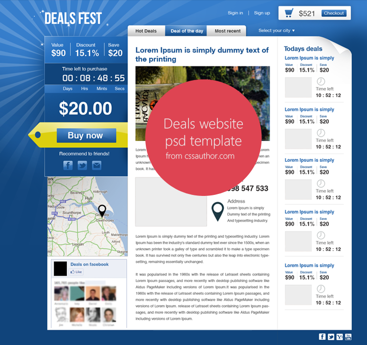 Premium Beautiful Deals Website PSD Template for Free Download - cssauthor.com