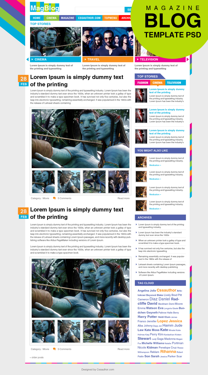 Premium Magazine Blog Template Home Page PSD for Free Download - cssauthor.com