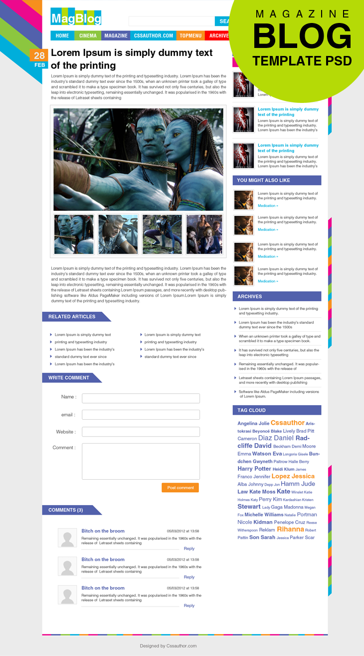Premium Magazine Blog Template Inner Page PSD for Free Download - cssauthor.com
