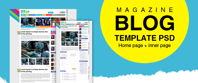 Premium Magazine Blog Template PSD for Free Download - Freebie No: 43