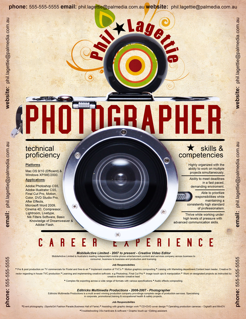 creative cv resume design inspiration resume photographer 2