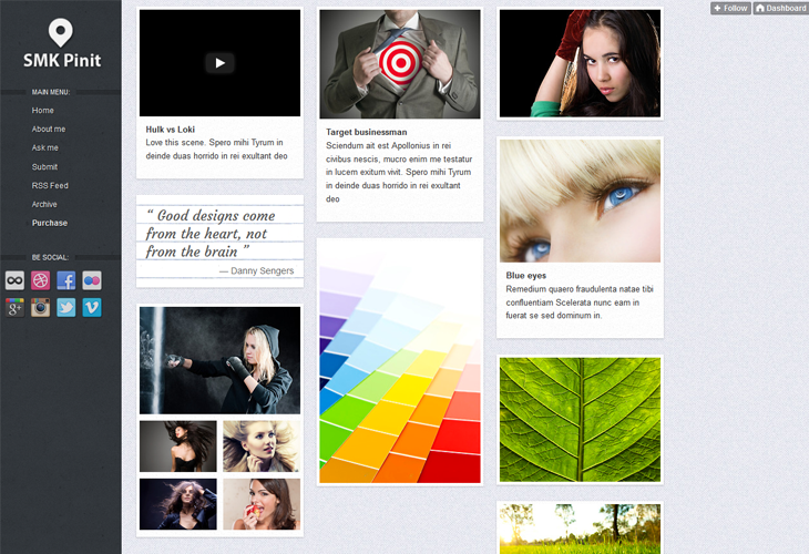 SMK Pinit - Tumblr Theme