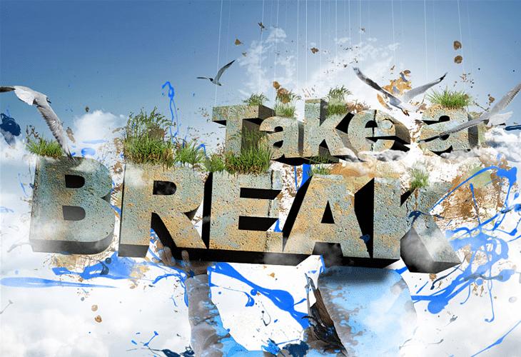 Take a Break 3D Text Composition