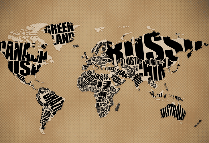Typographic World Map