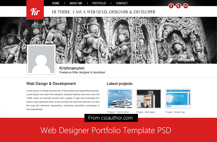 Web Designer Portfolio Template PSD for Free Download - cssauthor.com