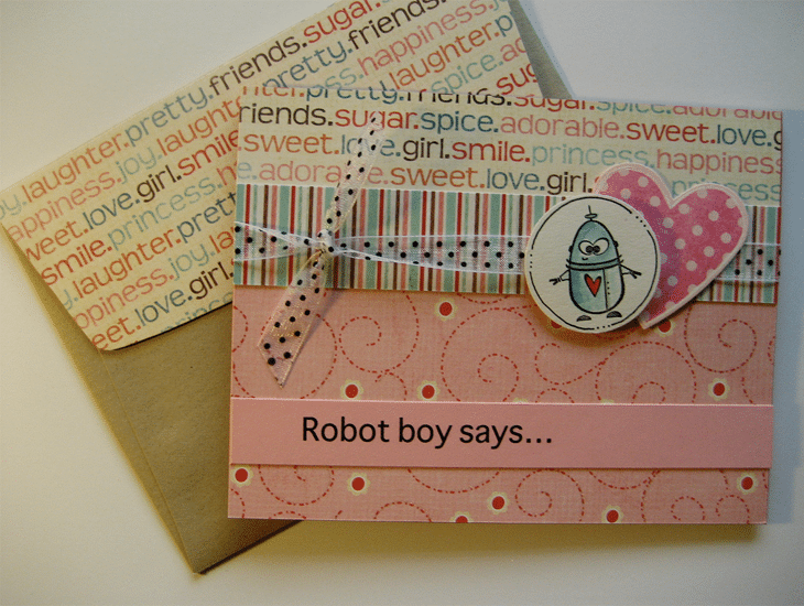 Boy Robot Valentine Card
