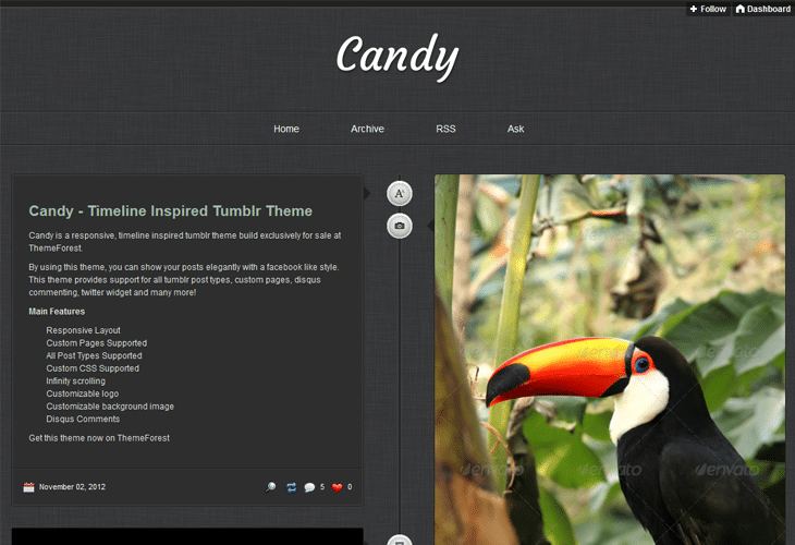 Candy - Responsive Timeline Tumblr Theme