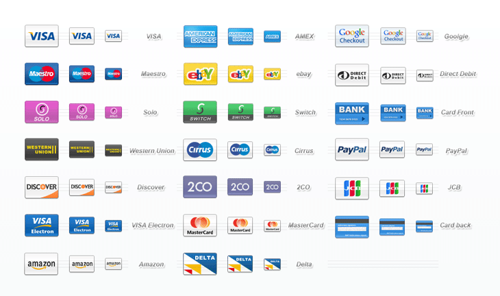 Credit Cards Icon Set (20 icons)
