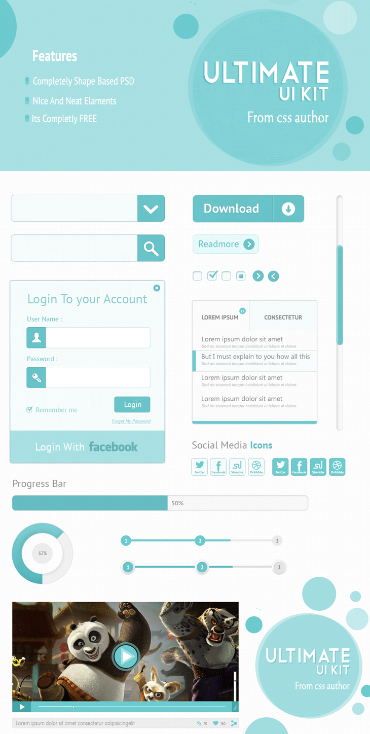 Download Free Ultimate UI Kit PSD from CSS Author