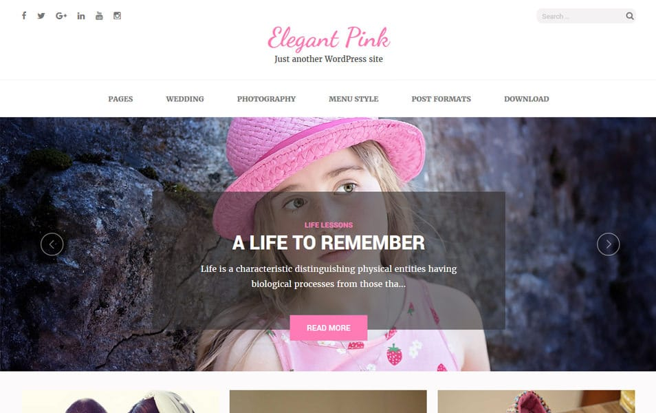 Elegant Pink Responsive WordPress Theme