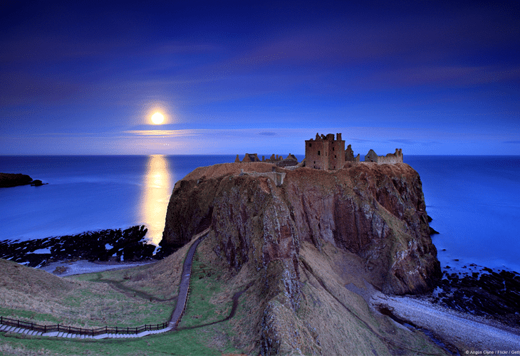 Full Moon Rising Dunnottar Castle
