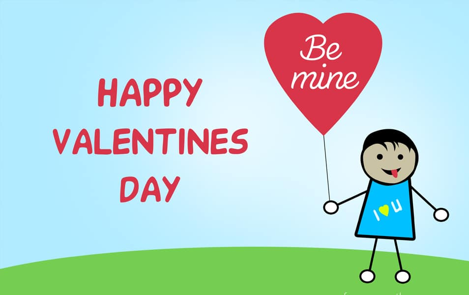 Free Download High Quality Happy Valentines Day Greeting Card PSD – Valentines Day Card Kids