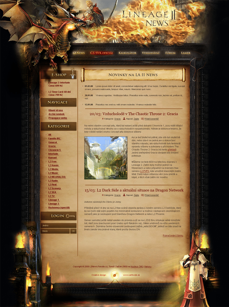 Lineage II website design