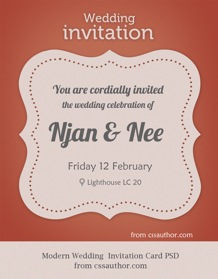 Modern Wedding Invitation Card PSD For Free Download   Cssauthor.com