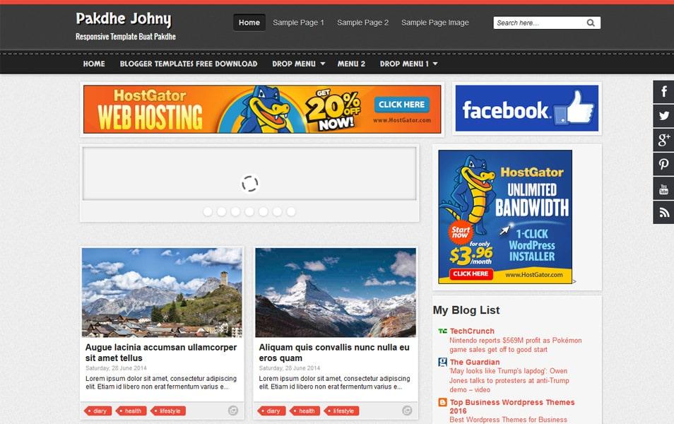 Pakdhe Johny Responsive Blogger Template