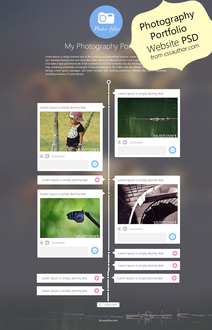 Photography Portfolio Website Template Design PSD from CSS Author