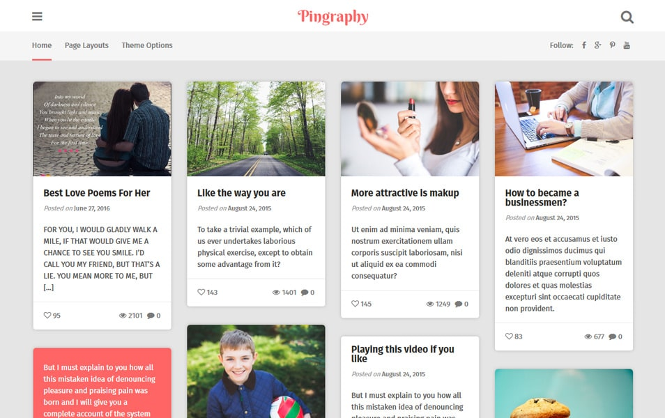 10 best free pinterest style wordpress themes 2017 pingraphy responsive wordpress theme pronofoot35fo Images