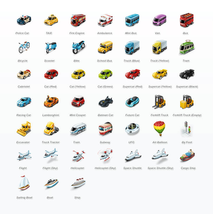 Transportation Icon Set (45 icons)