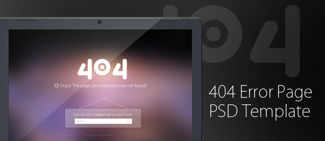 404 Error Page PSD Template for Free Download – Freebie No: 69