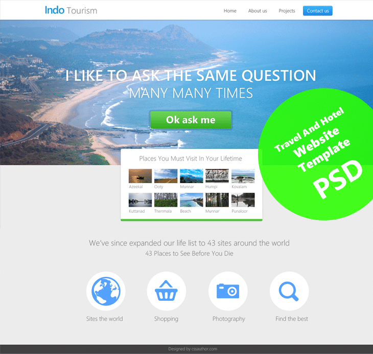 Beautiful travel and hotel website template psd for free for Website templates free download