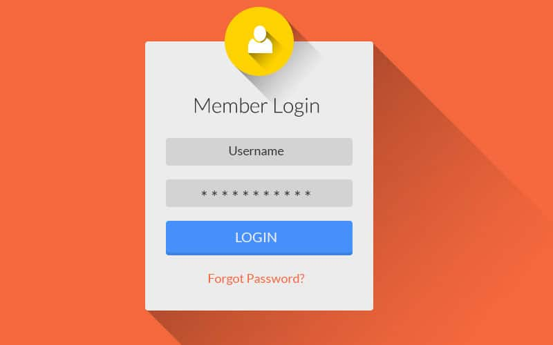 Flat Long Shadow Login UI PSD