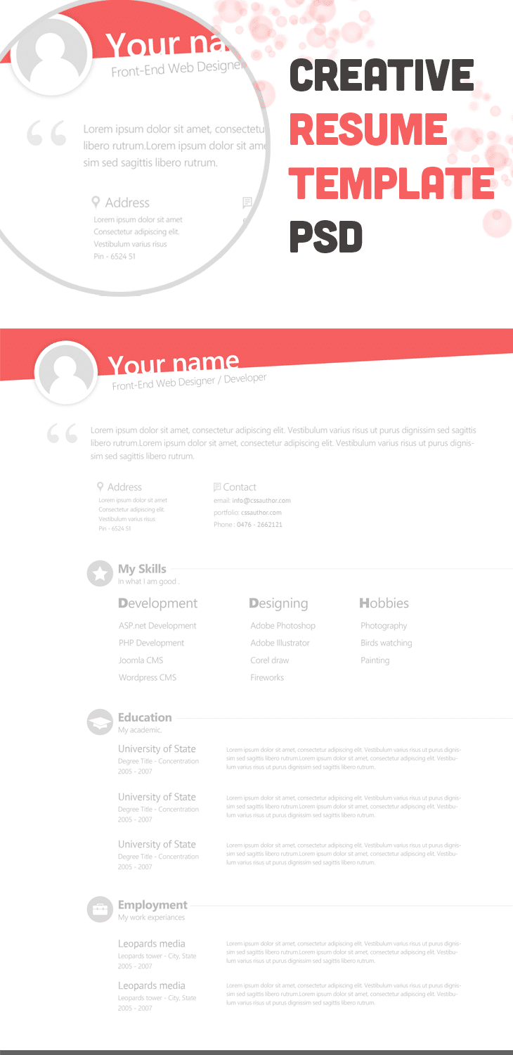free creative resume template psd cssauthorcom - Free Unique Resume Templates