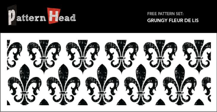 Grungy Fleur De Lis Free Seamless Vector Pattern