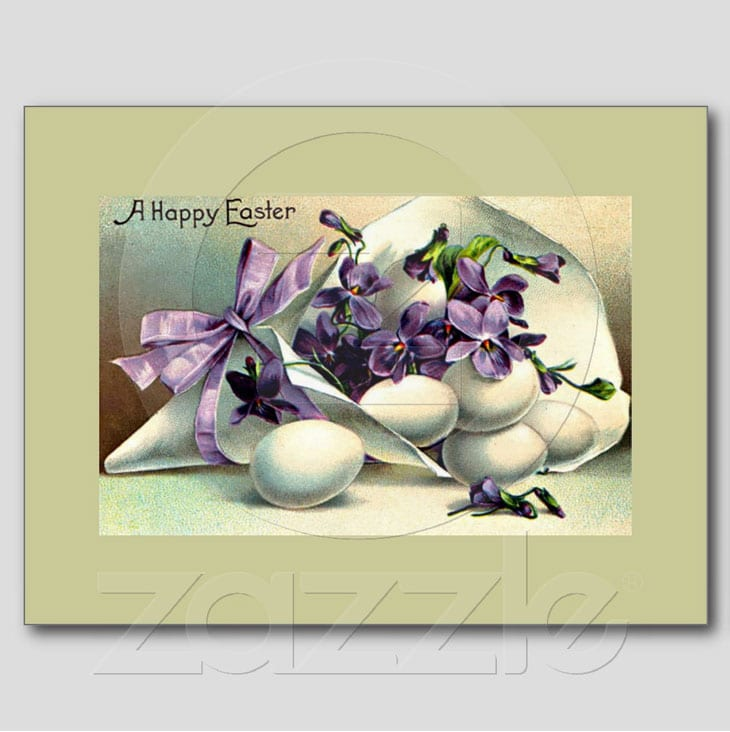 Happy Easter Violets & Eggs Vintage Post Cards