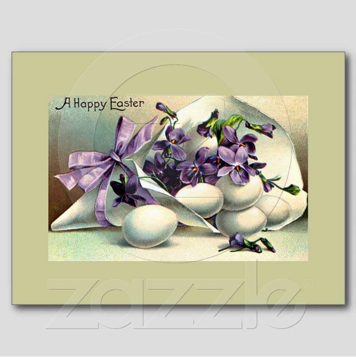 Happy Easter Violets & Eggs Vintage Post Cards