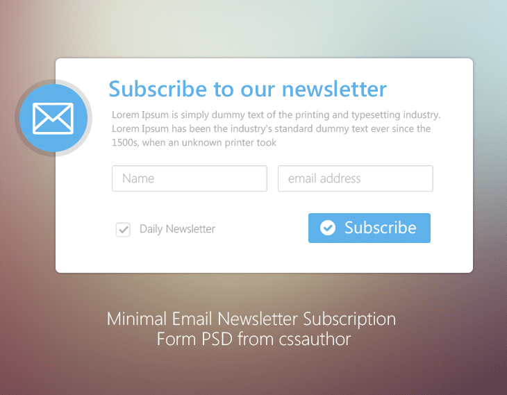 Minimal Email Newsletter Subscription Form PSD for Free Download - cssauthor.com
