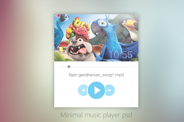 Minimal Music Player UI Design PSD for Free Download - cssauthor.com