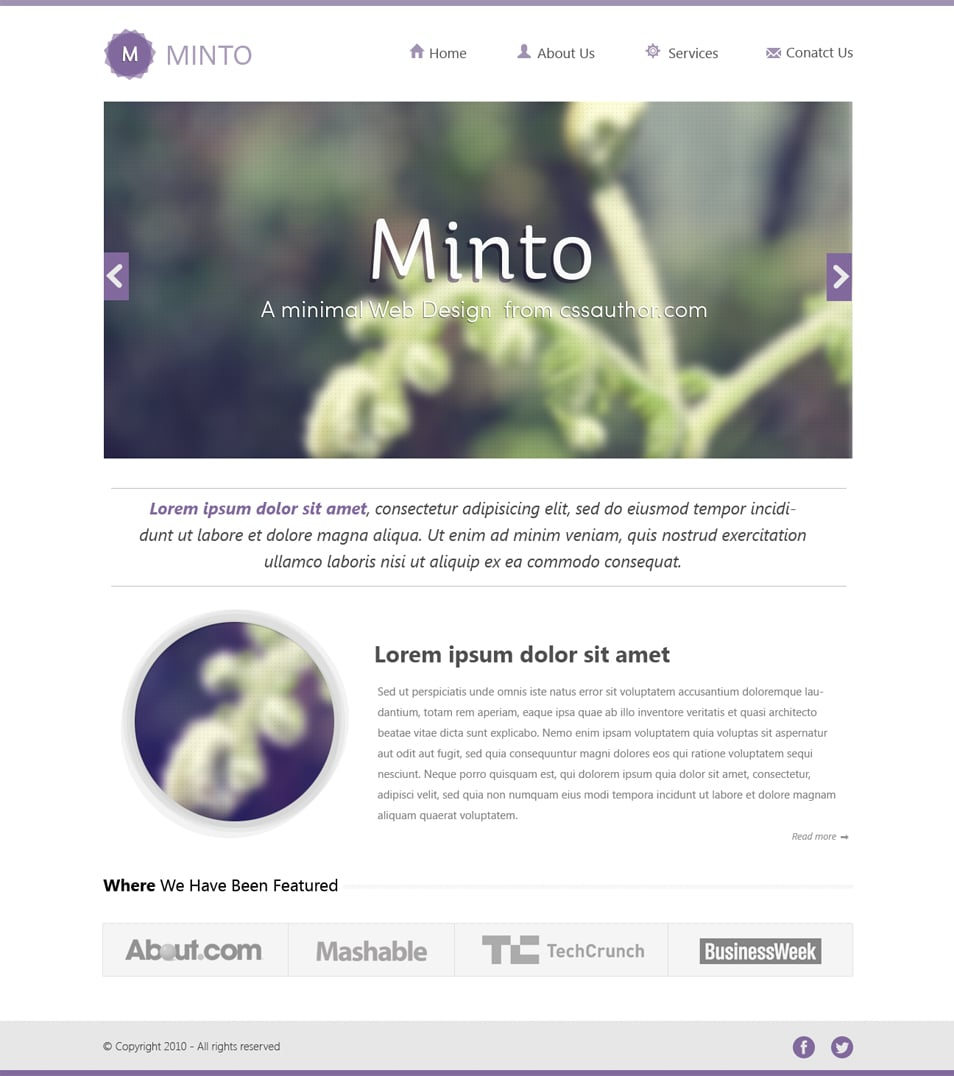 Minto Minimal Website Design Template PSD