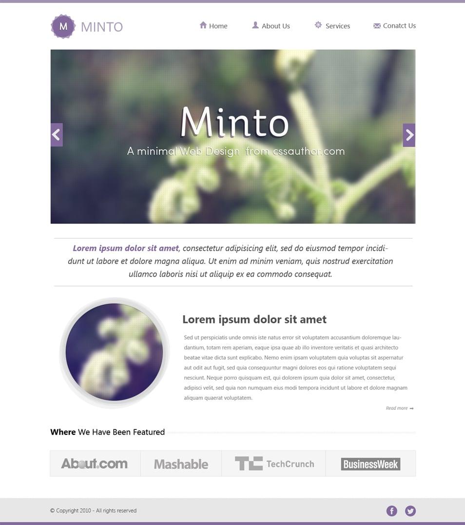 Minto Minimal Website Design Template PSD