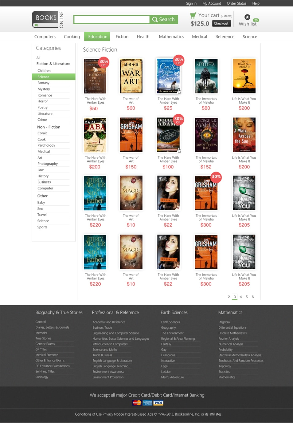 Online Bookstore Category Page
