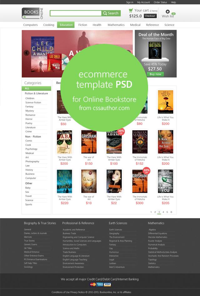 Online E-commerce Home Page Template PSD for Online Bookstore - cssauthor.com