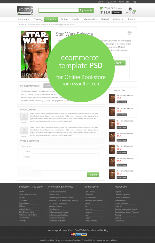 Online E-commerce Product Page Template PSD for Online Bookstore - cssauthor.com