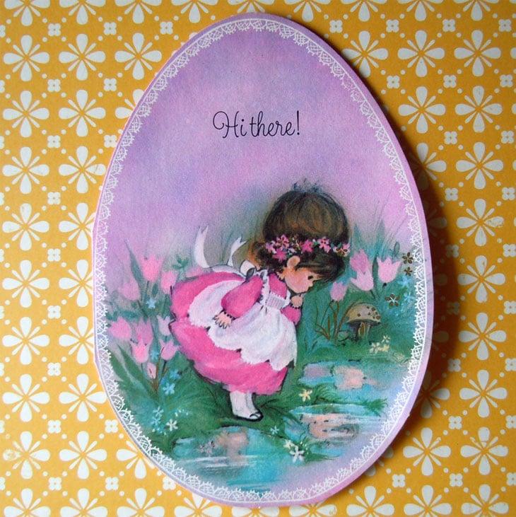 Purple Easter Egg Vintage Greeting Card