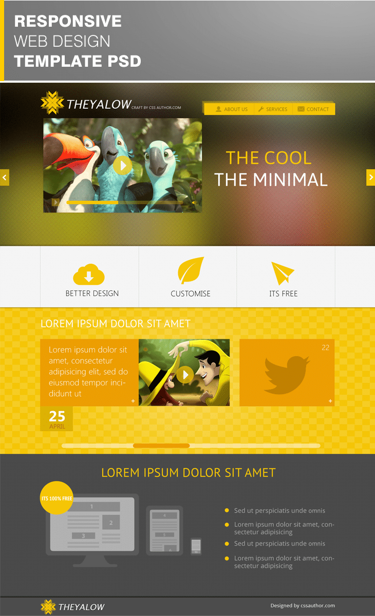 Theyalow a responsive web design template psd for free for Free design templates
