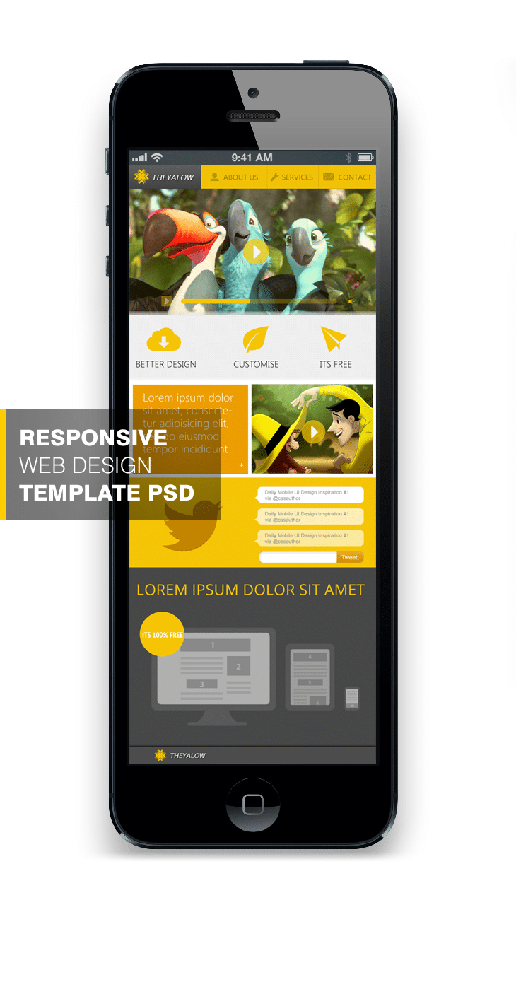 THEYALOW - A Responsive Web Design Template PSD for Free Download - cssauthor.com