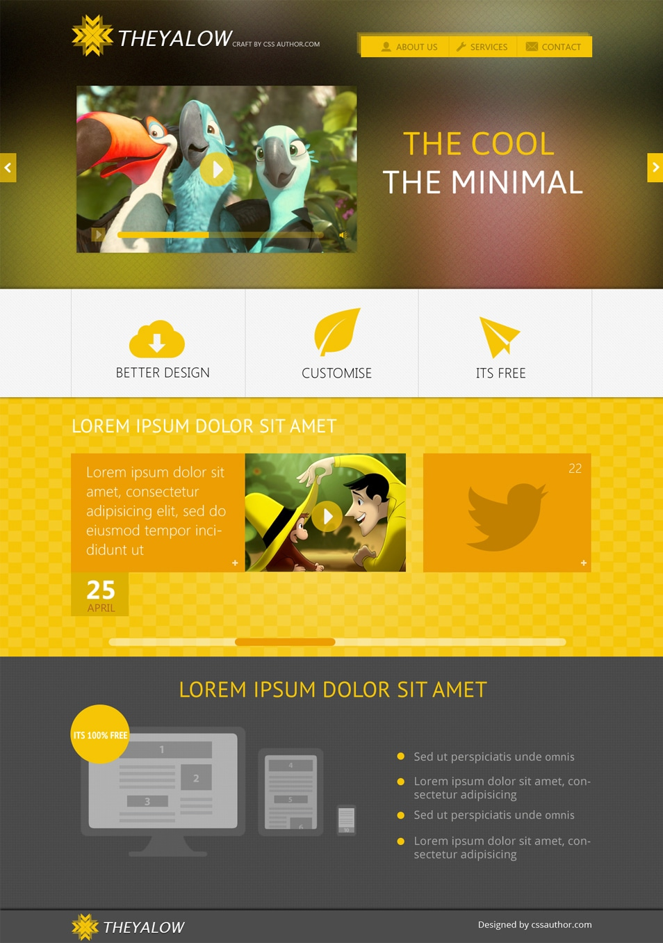 Theyalow A Responsive Web Design Template Psd For Free Download