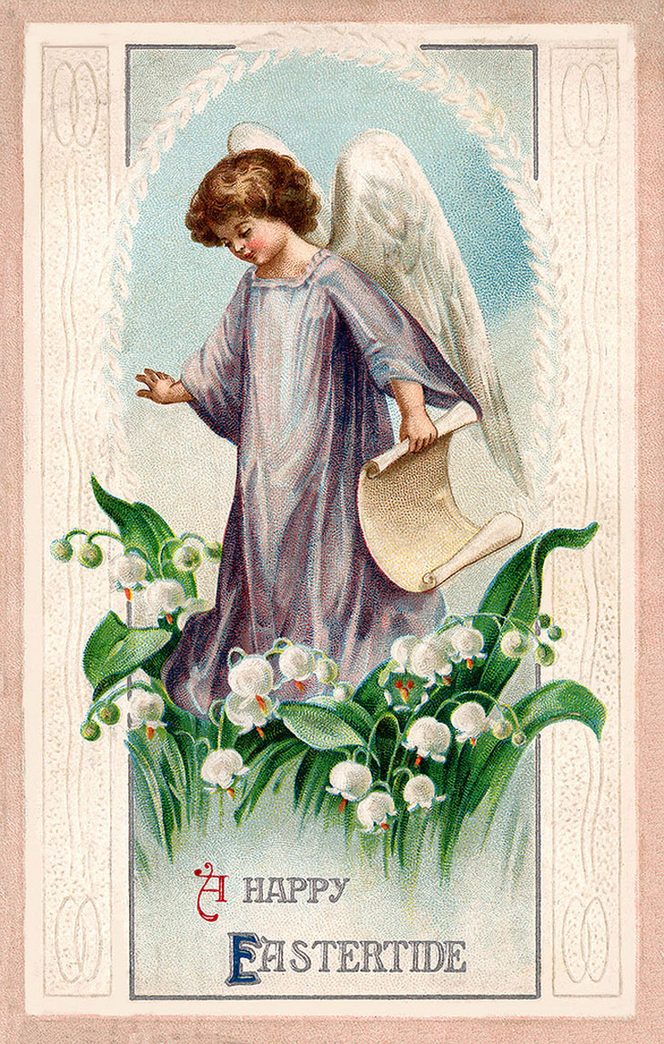 Vintage Easter Greeting Card Illustration
