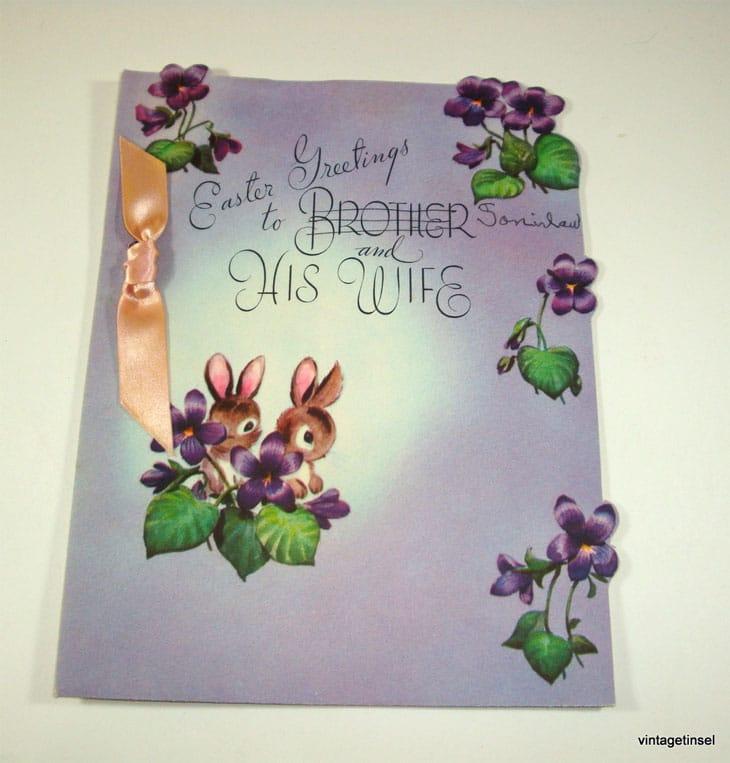 Vintage Purple Easter Greeting Card