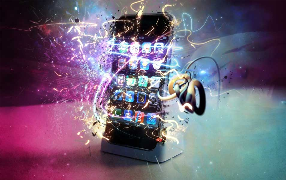 iPhone 4G With Shining Multi Color Background 3D Gaming HD Wallpaper